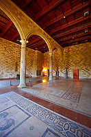 Entance room of the 14th century medieval palace of the Grand Master of the Kinights of St John, Rhodes, Greece. UNESCO World Heritage Site