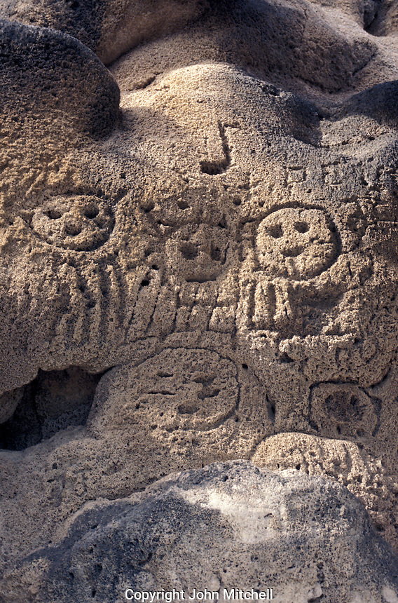 Taino Indian petroglyphs in a shallow cave on cliffs overlooking Lake Enriquillo in the western part of the Dominican Republic