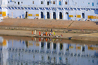 Reflection over the holy Pushkar lake, Rajasthan, India
