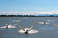 Seadoos racing in Formation on Fraser River, Southwestern BC, British Columbia, Canada, Summer