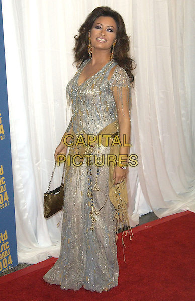 LATIFFA.The World Music Awards (WMA's), Las Vegas, Nevada, USA, September 15th 2004..full length long silver grey dress beige belt beads tasselled tassels .Ref: PL.www.capitalpictures.com.sales@capitalpictures.com.©Capital Pictures.