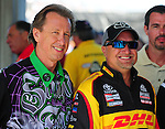 May 6, 2012; Commerce, GA, USA: NHRA funny car driver Bob Bode (left) with Jeff Arend during the Southern Nationals at Atlanta Dragway. Mandatory Credit: Mark J. Rebilas-