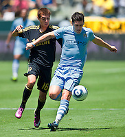 CARSON, CA – July 24, 2011: Hector Jimenez (16) of LA Galaxy and Gareth Barry (18) of Manchester City during the match between LA Galaxy and Manchester City FC at the Home Depot Center in Carson, California. Final score Manchester City FC 1 and LA Galaxy 1. Manchester City wins shoot out 7, LA Galaxy 6.