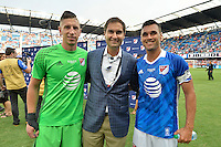 San Jose, CA - Thursday July 28, 2016: David Bingham, Chris Wondolowski during a Major League Soccer All-Star Game match between MLS All-Stars and Arsenal FC at Avaya Stadium.