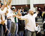 WATERBURY, CT- 02 JAN 2008- 010208JT04-<br /> Holy Cross alumnus TJ Campion gestures to Sacred Heart fans after getting Holy Cross fans to cheer louder than them during a time-out in Wednesday's game at Sacred Heart. Cross remains undefeated, beating Sacred Heart 61-46. <br /> Josalee Thrift / Republican-American