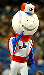 26 May 2002: The Montreal Expos held their first of two retrospective game events, turning back the clock to the 1970s with their original mascot Souki in attendance at Olympic Stadium, in Montreal, Quebec. <br /> Mandatory Photo Credit: Ed Wolfstein Photo