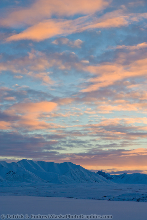 Sunset on the Arctic Coastal Plain over the Endicott Mountains, Brooks Range, Alaska