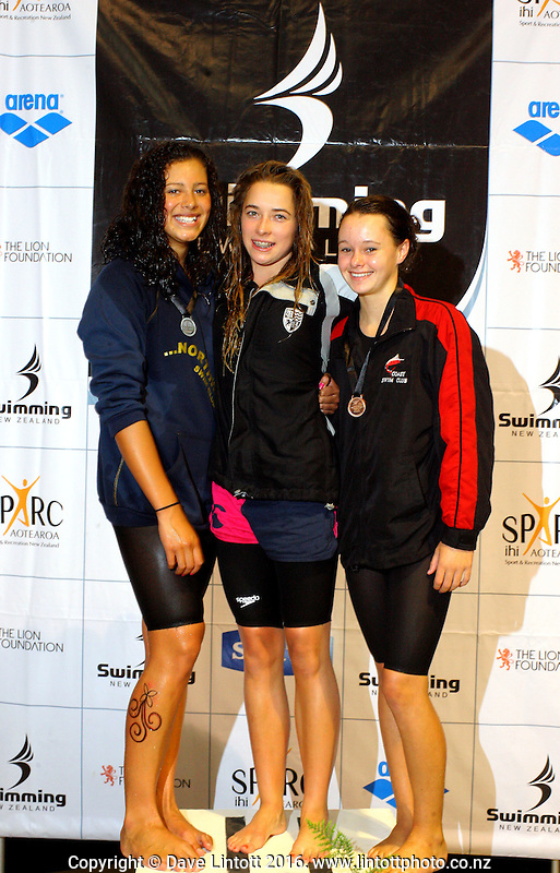 14yo Girls 50m butterfly podium, from left, Melita Raravula (2), Georgia Marris (1) and Michayla Johnson (3). New Zealand Age Group Swimming Championships day four at Welllington Aquatics Centre, Kilbirnie, Wellington, New Zealand on Friday, 4 March 2011. Photo: Dave Lintott / photosport.co.nz