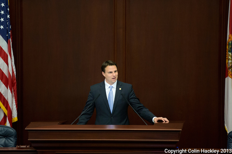 TALLAHASSEE, FLA. 3/5/13-OPENING030513CH-Speaker of the House Will Weatherford, R-Wesley Chapel, speaks after the election overhaul bill passed the House on the opening day of the 2013 legislative session Tuesday at the Capitol in Tallahassee, Fla..COLIN HACKLEY PHOTO