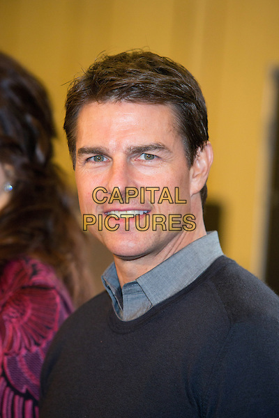 Tom Cruise.'Oblivion' photocall at the Ritz-Carlton Hotel, Moscow, Russia..1st April 2013.headshot portrait black grey gray  sweater jumper top collar shirt.CAP/PER/PK.© PK/Persona/CapitalPictures