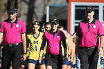 15 November 2015: Match officials. From left: Stefon Smith, Katelyn Makovec, and Tim Vaughn. The University of North Carolina Tar Heels played the University of Michigan Wolverines at Francis E. Henry Stadium in Chapel Hill, North Carolina in a 2015 NCAA Division I Field Hockey Tournament Quarterfinal match. UNC won the game 1-0.