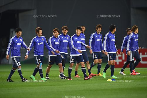 Japan team group (JPN), <br /> MARCH 30, 2015 - Football / Soccer : <br /> Japan training session <br /> at Tokyo Stadium in Tokyo, Japan. <br /> (Photo by AFLO SPORT)