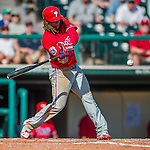11 March 2016: Philadelphia Phillies infielder Emmanuel Burriss in action during a Spring Training pre-season game against the Atlanta Braves at Champion Stadium in the ESPN Wide World of Sports Complex in Kissimmee, Florida. The Phillies defeated the Braves 9-2 in Grapefruit League play. Mandatory Credit: Ed Wolfstein Photo *** RAW (NEF) Image File Available ***