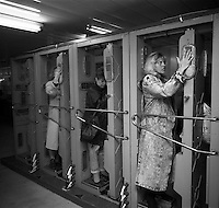 Chernobyl, Ukraine, Ocober 1995..The explosion at the Chernobyl Nuclear Power Plant on April 26 1986 was the worst nuclear accident in history..Chernobyl workers pass through radiation checks to and fro the closed train which takes them to work at the plant.