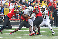College Park, MD - October 1, 2016: Purdue Boilermakers tight end Cole Herdman (88) is tackled by several Maryland Terrapins defenders during game between Purdue and Maryland at  Capital One Field at Maryland Stadium in College Park, MD.  (Photo by Elliott Brown/Media Images International)