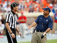 Richmond Spiders head coach Danny Rocco argues with the referee during the first half of the NCAA football game against the Virginia Cavaliers Saturday September, 1, 2012 at Scott Stadium in Charlottesville, Va.