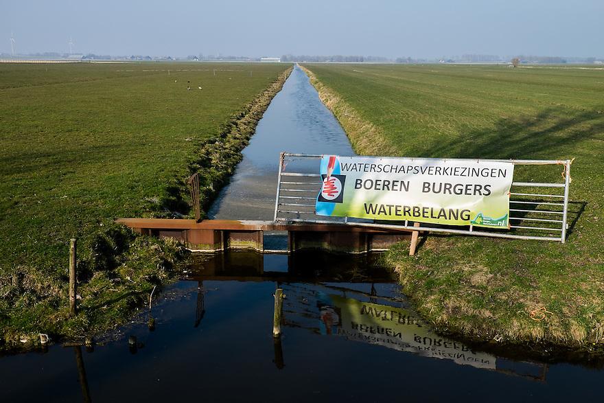 Nederland, Camperduin,  17 maart 2015<br /> Reclame voor verkiezingen van waterschappen op 18 maart.<br /> <br /> Foto: (c) Michiel Wijnbergh