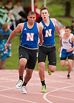 LITCHFIELD,  CT-052017JS06- Nonnewaug's Clifton Leggo, left, takes the handoff from teammate Conor Coleman as they compete in the 4x100M relay during the Berkshire League Outdoor Track and Field Championships Saturday at the Plumb Hill Sports Complex in Litchfield. <br /> Jim Shannon Republican-American