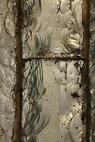 Tropical Rainforest Glasshouse (formerly Le Jardin d'Hiver or Winter Gardens), 1936, René Berger, Jardin des Plantes, Museum National d'Histoire Naturelle, Paris, France. Detail of luminescent glass paste by Auguste Labouret in one of the pillars of the Art Deco style main entrance.