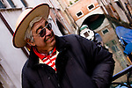 Close up of a gondolier in Venice, Italy.