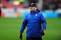 Bath Rugby first team coach Darren Edwards looks on during the pre-match warm-up. Aviva Premiership match, between Gloucester Rugby and Bath Rugby on March 26, 2016 at Kingsholm Stadium in Gloucester, England. Photo by: Patrick Khachfe / Onside Images