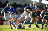 Brad Barritt of Saracens takes on the Leicester Tigers defence. Aviva Premiership match, between Leicester Tigers and Saracens on March 20, 2016 at Welford Road in Leicester, England. Photo by: Patrick Khachfe / JMP