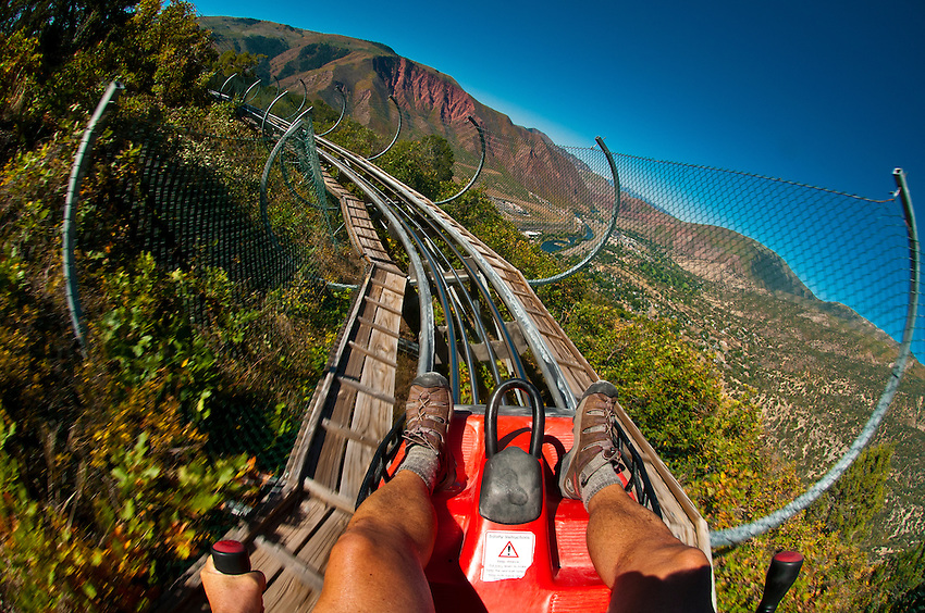 Canyon flyer (an alpine rollercoaster), Glenwood Caverns Adventure Park, Glenwood Springs, Colorado USA