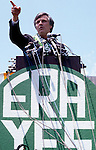 Alan Alda speaks to an Equal Rights Amendment rally in Washington, DC in 1981