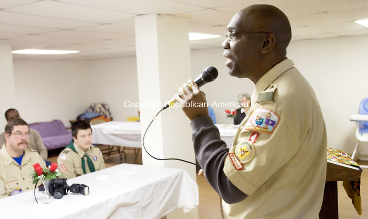 "TORRINGTON, CT. 14 January 2012-011412SV07-Wilbert Boles of Torrington sings ""Swing Low, Sweet Chariot""  during the Martin Luther King breakfast hosted by the AME Zion Church in Torrington Saturday..Steven Valenti Republican-American"