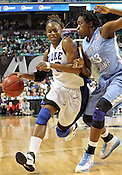 Karima Christmas blows past UNC's Laura Broomfield.This was the Championship game of the 2011 ACC Tournament in Greensboro on March 6, 2011. Duke beat UNC 81-66. (Photo by Al Drago)