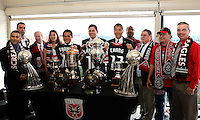 WASHINGTON, DC-JULY 10,2012:  Kevin Payne, Erick Thohir, Jason Levien, and Will Chang with members of DC United supporters clubs during a D.C. United ownership press conference at the POV Lounge in the W Hotel, Washington, DC.