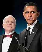 Washington, DC - January 19, 2009 -- United States President-elect Barack Obama speaks about United States Senator John McCain (Republican of Arizona), the Republican presidential nominee, at a bi-partisan dinner honoring McCain in Washington, D.C., U.S., Monday, January 19, 2009.   .Credit: Joshua Roberts - Pool via CNP