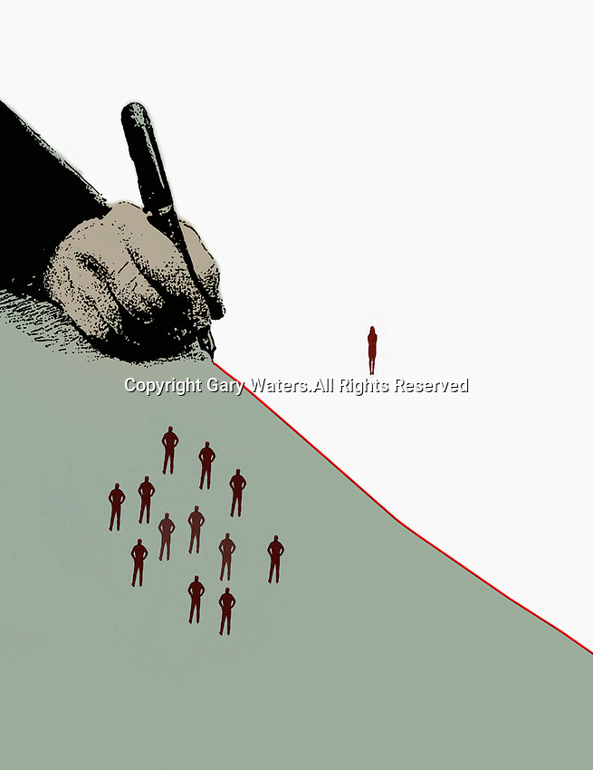 Hand drawing red dividing line separating woman from group of men