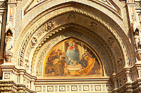The Dome Catheral - Detail of St Mary Of The Flower  picture  and  main entrance -  Florence Italy