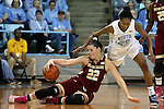 01 February 2015: Boston College's Emilee Daley (left) keeps the ball away from North Carolina's N'Dea Bryant (right). The University of North Carolina Tar Heels hosted the Boston College Eagles at Carmichael Arena in Chapel Hill, North Carolina in a 2014-15 NCAA Division I Women's Basketball game. UNC won the game 72-60.