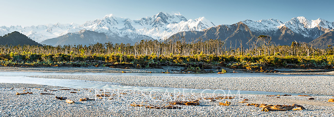 Gillespies Beach and Cook River with Southern Alps, Mount Tasman and Mount Cook, Westland National Park, World Heritage Area, West Coast, New Zealand