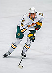 24 November 2012: University of Vermont Catamount defenseman Yvan Pattyn, a Freshman from St. Anne, Manitoba, in third period action against the University of Minnesota Golden Gophers at Gutterson Fieldhouse in Burlington, Vermont. The Catamounts fell to the Gophers 3-1 in the second game of their 2-game non-divisional weekend series. Mandatory Credit: Ed Wolfstein Photo
