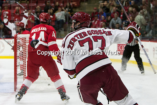 Lewis Zerter-Gossage (Harvard - 77) - The Harvard University Crimson defeated the visiting Cornell University Big Red on Saturday, November 5, 2016, at the Bright-Landry Hockey Center in Boston, Massachusetts.