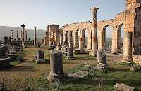 The Roman Basilica, 217 AD, used as courts of justice and city governance, with its colonnaded facade which lined the Forum or marketplace, Volubilis, Northern Morocco. The tetrastyle Capitoline Temple, built 218 AD on an existing shrine, can be seen in the distance. Volubilis was founded in the 3rd century BC by the Phoenicians and was a Roman settlement from the 1st century AD. Volubilis was a thriving Roman olive growing town until 280 AD and was settled until the 11th century. The buildings were largely destroyed by an earthquake in the 18th century and have since been excavated and partly restored. Volubilis was listed as a UNESCO World Heritage Site in 1997. Picture by Manuel Cohen