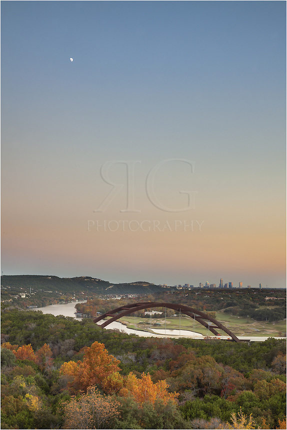November is one of my favorite times to photograph the 360 Bridge with downtown Austin in the background. The trees are changing and the air is cool and crisp. This evening, while no clouds were out, I was treated to great color and the moon rising in the southeast.