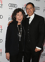 HOLLYWOOD, CA - NOVEMBER 11: Lily Tomlin and David O. Russell at the premiere of 'Flirting With Disaster' at AFI Fest 2016, presented by Audi at TCL Chinese 6 Theater on November 11, 2016 in Hollywood, California. Credit: Faye Sadou/MediaPunch