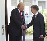 United States President Donald J. Trump welcomes President Juan Manuel Santos of Colombia to the White House in Washington, DC, May 18, 2017. <br /> Credit: Chris Kleponis / CNP /MediaPunch