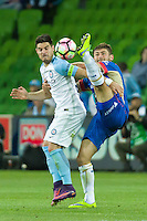 Melbourne, 10 November 2016 - BRUNO FORNAROLI (23) of Melbourne City and IVAN VUJICA (13) of the Jets fight for the ball in the round 6 match of the A-League between Melbourne City and Newcastle Jets at AAMI Park, Melbourne, Australia. Melbourne won 2-1 (Photo Sydney Low / sydlow.com)