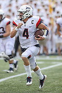 Annapolis, MD - September 9, 2016: Connecticut Huskies quarterback Bryant Shirreffs (4) runs the ball during game between UConn and Navy at  Navy-Marine Corps Memorial Stadium in Annapolis, MD. September 9, 2016.  (Photo by Elliott Brown/Media Images International)