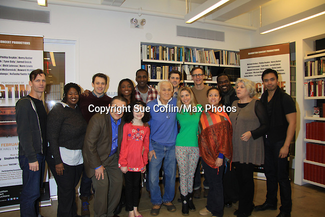 """Rehearsals for Ragtime starring One Life To Live Kerry Butler """"Claudia Reston"""" (green), Dick Latessa (Edge of Night) (blue), Matt Cavenaugh (also As The World Turns """"Adam Munson"""") (third left back), General Hospital Tyne Daly """"Caroline"""" (right), All My Children Norm Lewis """"Keith McLean"""" & now Scandal (plaid), As The World Turns Lea Salonga """"Lien Hughes"""" (multi), Young and the Restless Howard McGillan """"Snapper's brother - Greg Foster"""" (back R) and Lilla Crawford (little) on February 11, 2013 for a concert at Avery Fisher Hall, New York City, New York on Monday February 18, 2013. (Photo by Sue Coflin/Max Photos)"""