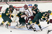 Nick Luukko (UVM - 25), Brody Hoffman (UVM - 37), Bill Arnold (BC - 24), Nick Bruneteau (UVM - 4), Brett Bruneteau (UVM - 13) - The Boston College Eagles defeated the University of Vermont Catamounts 4-1 on Friday, February 1, 2013, at Kelley Rink in Conte Forum in Chestnut Hill, Massachusetts.