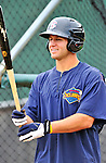 21 August 2010: Brooklyn Cyclones catcher Patrick Farrell awaits his turn in the batting cage prior to a game against the Vermont Lake Monsters at Centennial Field in Burlington, Vermont. The Cyclones defeated the Lake Monsters 8-7 in a 12-inning game that had to be resumed in Brooklyn on August 31 due to late inning rain. Mandatory Credit: Ed Wolfstein Photo