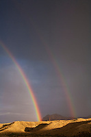 Shoshone National Forest Wyoming, double rainbow over Absaroka Mountains