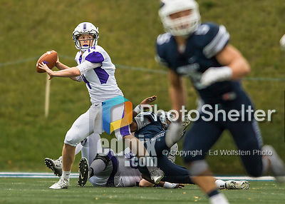 8 October 2016: Amherst College Purple & White Quarterback Nick Morales, a Sophomore from Seattle, WA, in action during a game against the Middlebury College Panthers at Alumni Stadium in Middlebury, Vermont. The Panthers edged out the Purple & While 27-26. Mandatory Credit: Ed Wolfstein Photo *** RAW (NEF) Image File Available ***