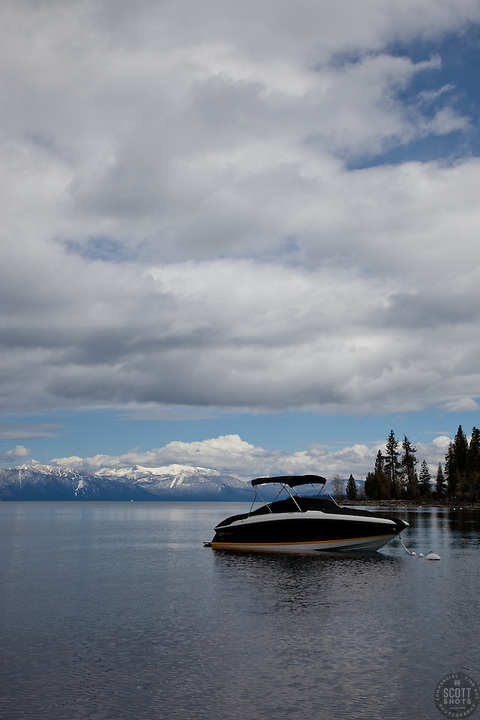 """Boat on Lake Tahoe 1"" - This boat was photographed on the West shore of Lake Tahoe."